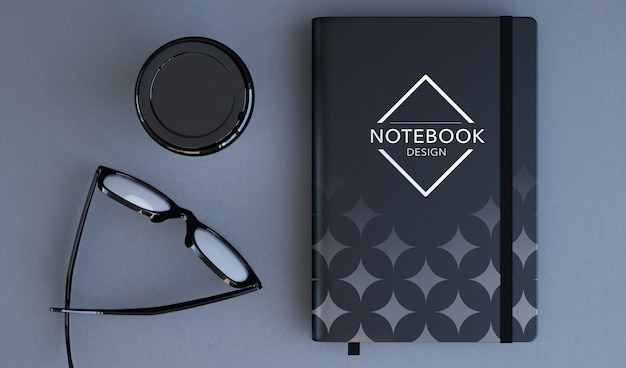 Notebook mockup 3d rendering top view