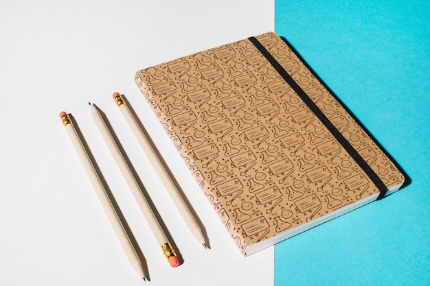 Notebook mockup for education concept