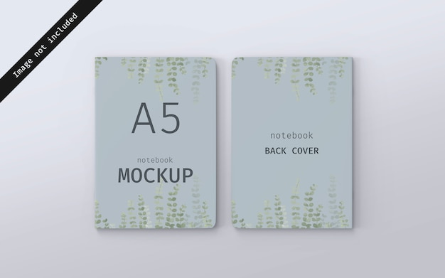 Notebook mockup front cover and back cover