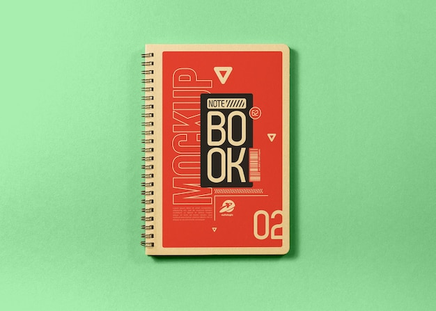 Notebook mockup on green