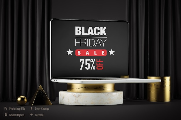 Notebook mockup isolated for black friday