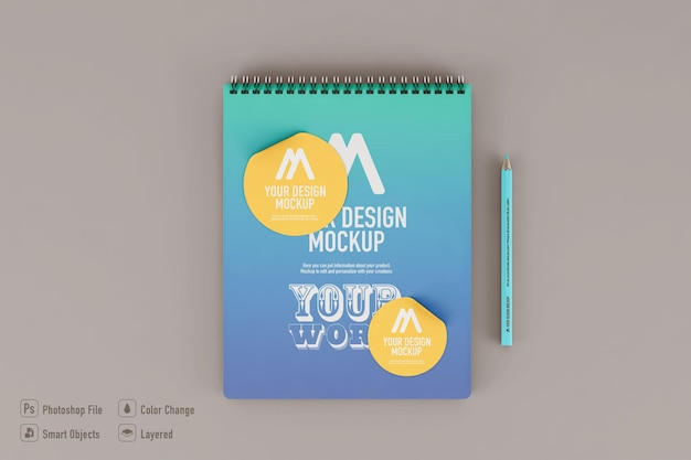 Notebook mockup isolated on soft color background