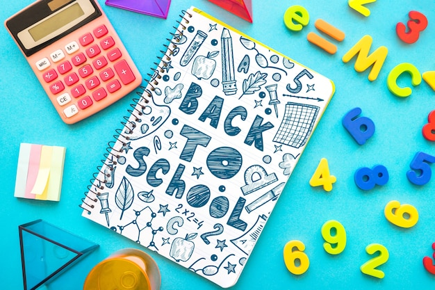 Notebook mockup with back to school concept