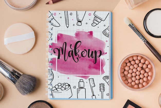 Notebook mockup with makeup concept
