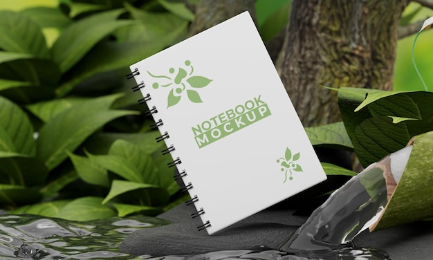 自然をコンセプトにしたノートブックのモックアップ