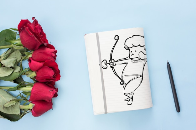 Notebook mockup with roses for valentines day