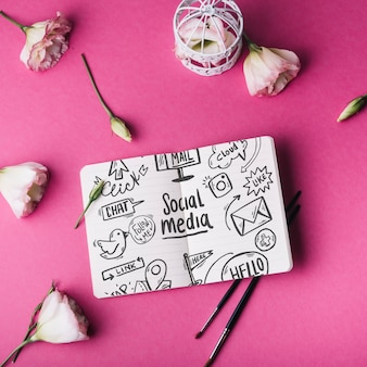 Notebook mockup with roses