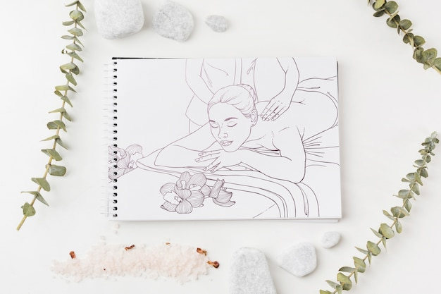 Notebook mockup with spa concept