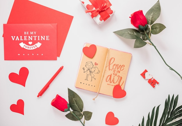 Notebook mockup with valentine concept
