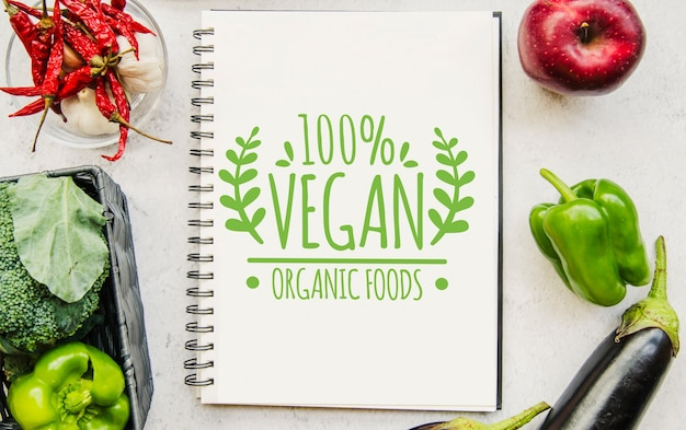 Notebook mockup with vegan food