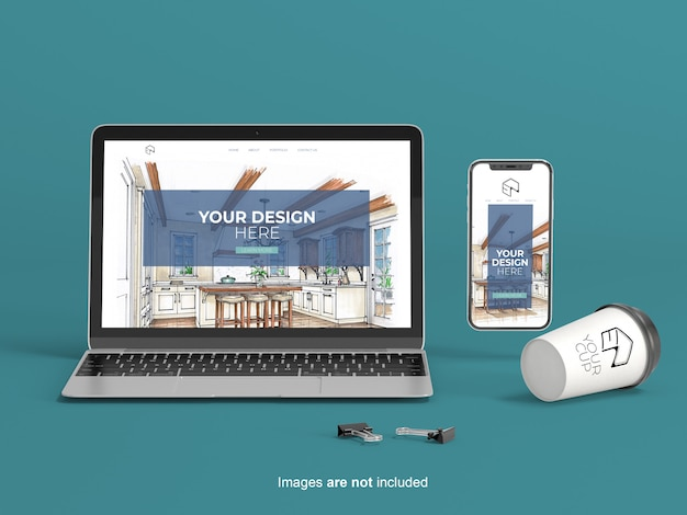 Notebook, phone and disposable cup mockup