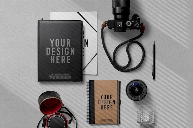Notebook portfolio with camera decoration mockup
