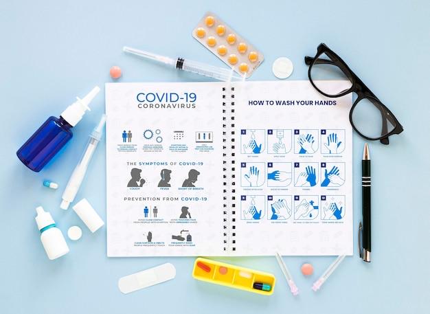 Notebook with coronavirus