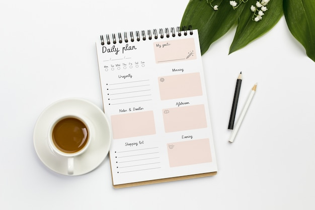 Notebook with daily plan concept