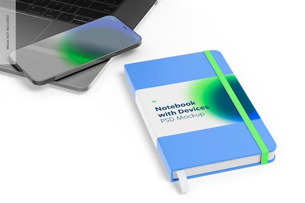 デバイスモックアップ付きノートブック、左側面図