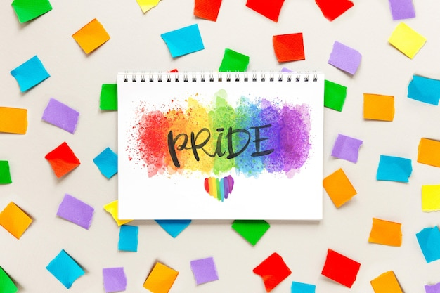 Notebook with draw for pride day