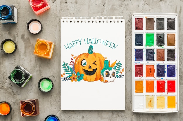Notebook with halloween concept