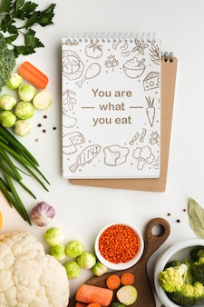 Notebook with healthy vegetables