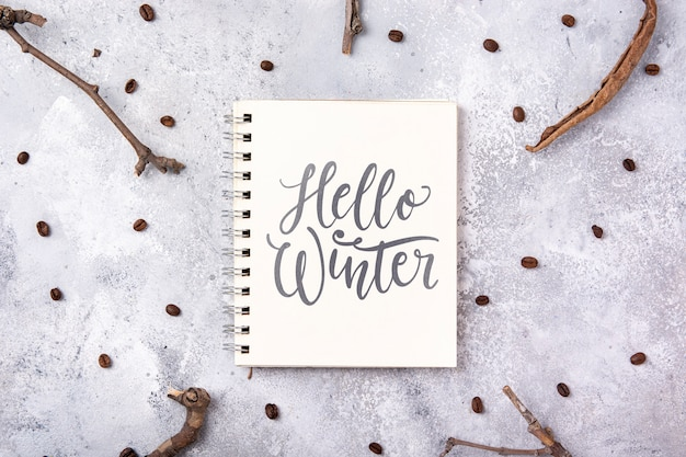 Notebook with hello winter message