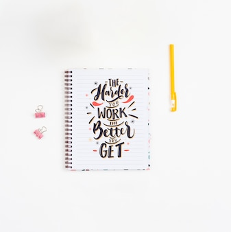 Notebook with inspirational quotation