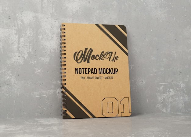 Notebook with kraft cover mockup