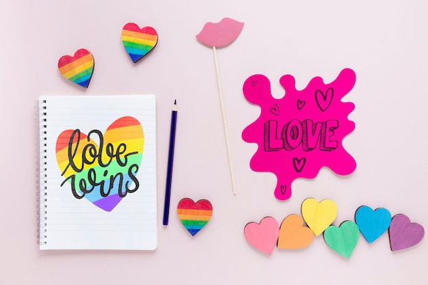 Notebook with message for pride day