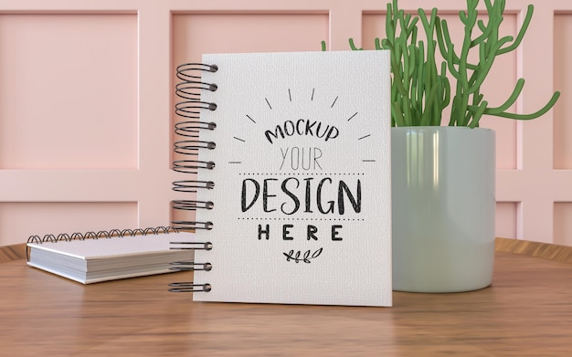 Notebook with work space mockup