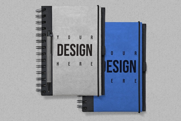 Notebooks mockup on grey background