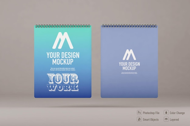 Notebooks mockup isolated on soft color background