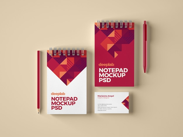 Notepad and business card branding mockup
