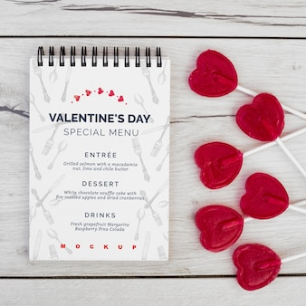 Notepad mockup for valentines menu