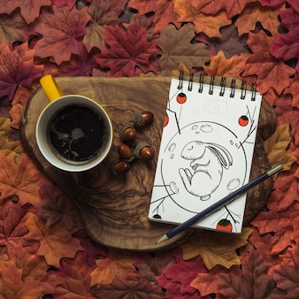 Notepad mockup with autumn concept