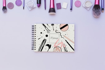 Notepad mockup with beauty concept