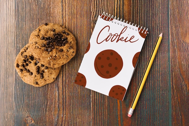 Notepad mockup with cookie concept