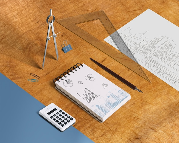 Notepad mockup with elements from isometric perspective