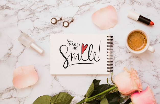 Notepad mockup with floral decoration