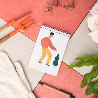 Notepad mockup with gardening concept