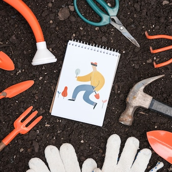 園芸の概念とメモ帳モックアップ