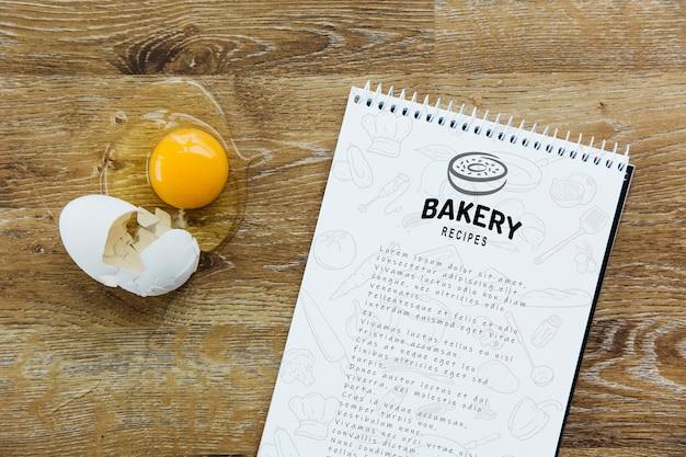 Макет блокнота с концепцией кухни и рецепта