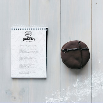 Notepad mockup with kitchen and recipe concept