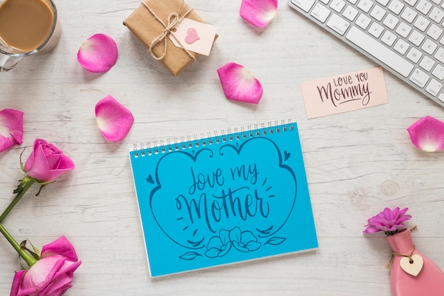 Notepad mockup with mothers day concept
