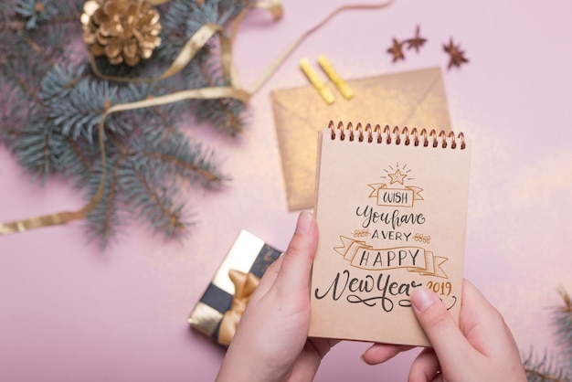 Notepad mockup with new year concept