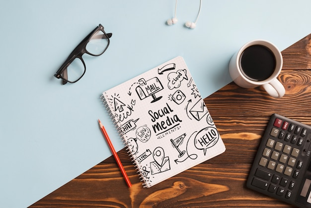 Notepad mockup with office elements