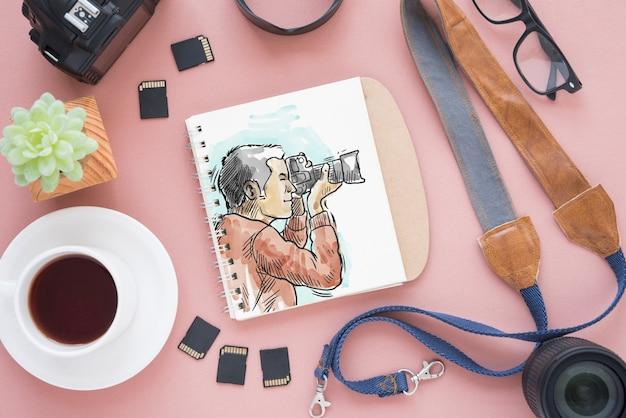 Блокнот макет с концепцией фотографии