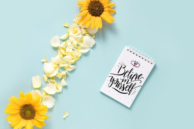 Notepad mockup with wedding concept