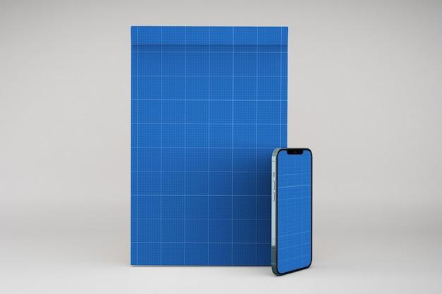 Notepadとスマートフォンのモックアップ