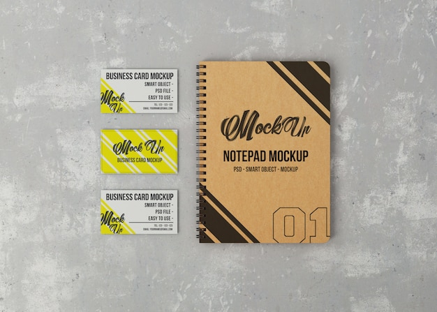 Notepad and three business cards mockup