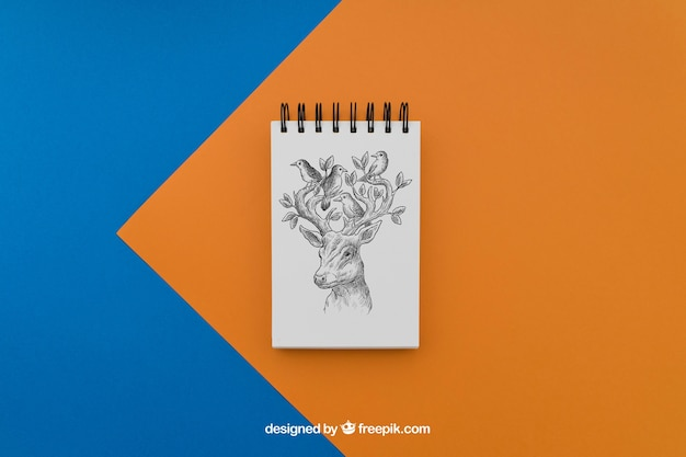 Notepad with deer drawing