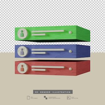 Уведомление оповещение социальные сети пастельные цвета вид сбоку 3d иллюстрация