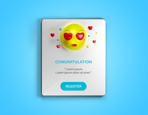 Notification pop up page with love emoji isolated